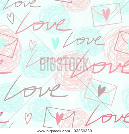 Elegant romantic seamless background with love words and letters
