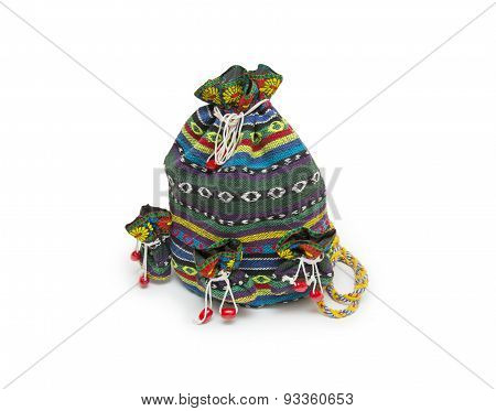 Backpack Standing Isolated On White Background