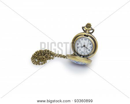 Pocket Watch On White Background, Necklace Isolated