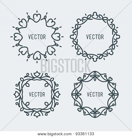 Vector Floral Frame. Mono Line Style Design Template