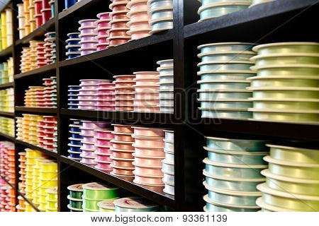 Various Colored Ribbons On Wooden Display Stand