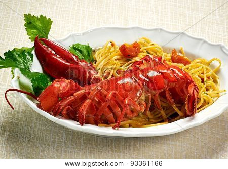 Gourmet Tasty Lobster With Linguine Pasta On Plate