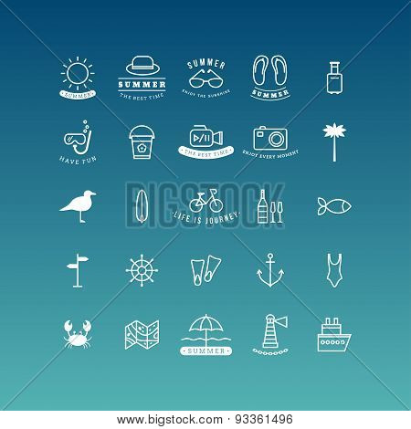 Summer Holidays Vector Icon Set. Line Art Vector Illustration