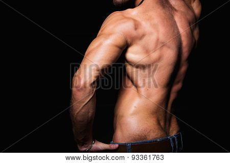 Muscular and sexy torso of young sporty man showing his perfect triceps, back muscles