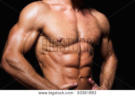 Muscular and sexy torso of young sporty man with perfect abs  chest