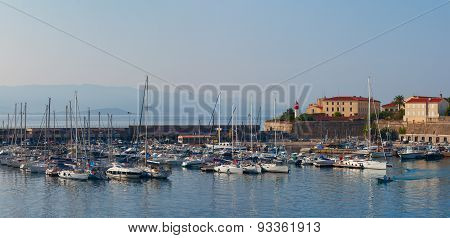 Early morning in the port of Ajaccio. Corsica, France