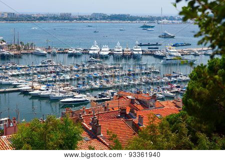 Luxury yachts in the Central wharf. Cannes, France.