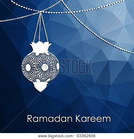 Modern Low Poly Ramadan Background With Arabic Lanterns, Vector
