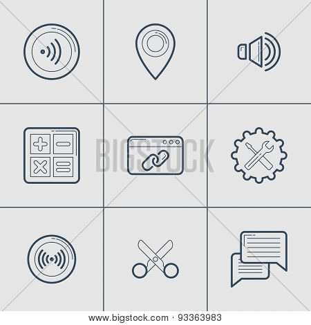 Set Of Modern Vector Thin Line Icons. Location, Settings, Cut, Message, Link, Calculator, Wi-fi