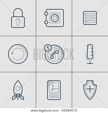 Set Of Modern Vector Thin Line Icons. Lock, Safe, Call, Microphone, Start Up, Map, Security