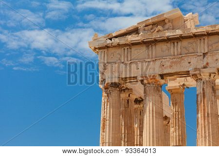 Detail of the Parthenon temple. Athens, Greece.