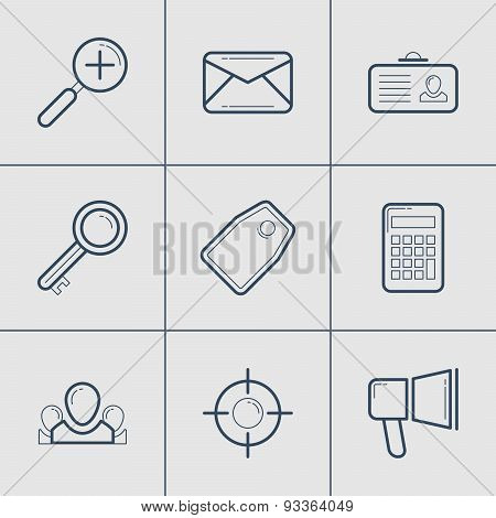 Set Of Modern Vector Thin Line Icons. Mail, Tag, Calculator, Target, Promotion