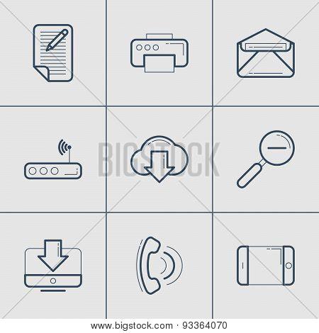 Set Of Modern Vector Thin Line Icons. Blog, Printer, Download, Call