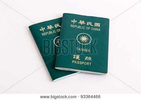 Taiwanese Passports On White Background