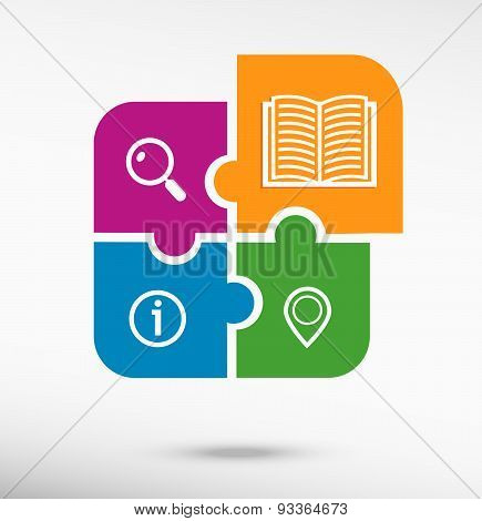 Book Icon On Colorful Jigsaw Puzzle