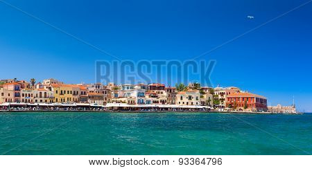 Old town main quay with colorful buildings. Chania, Greece