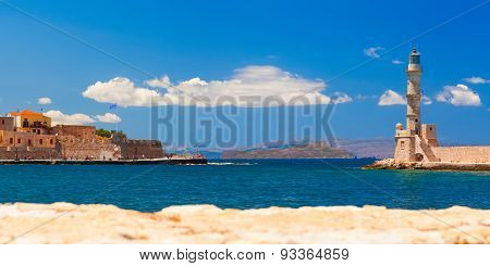 Lighthouse and main town quay panoramic view. Chania, Crete