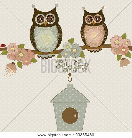 Cute Owls On A Branch With Flowers And Birdhouse