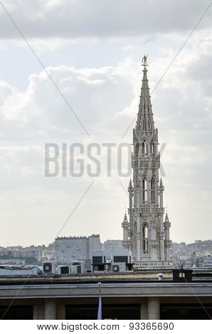 Town Hall Tower On Grand Place In Brussels.
