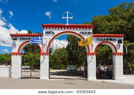 Tsambika Monastery entrance arches. Rhodes Island, Greece
