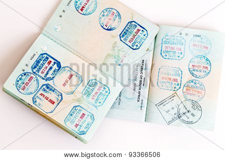 Visas And Stamps In Passport