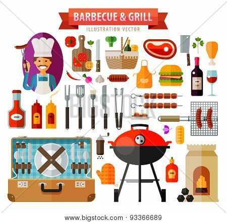 barbecue and grill. set of elements - food, meat, barbecue, kitchen tools, BBQ, bottle wine, suitcas
