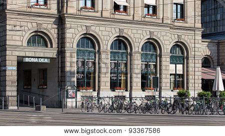 Facade Of The Zurich Main Railway Station Building