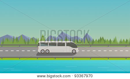 Touristic White Bus