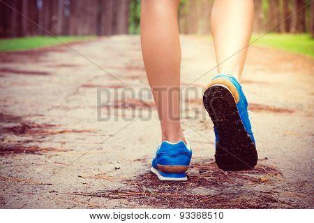 Women's Running Through Pine Tree Forest Trail.