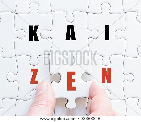 Last Puzzle Piece With Business Word Kaizen