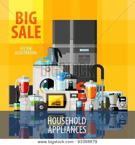 household appliances vector logo design template. big sale or technology icon