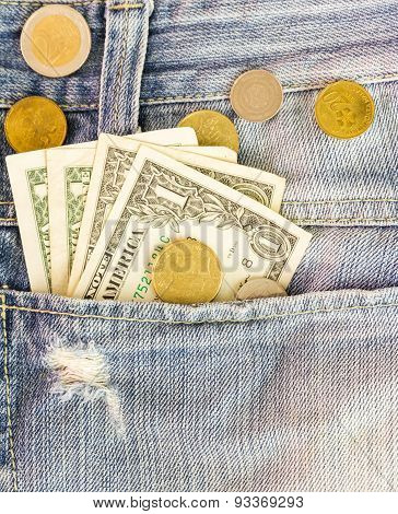 The Dollars Money And Coin Inside Pants Pocket Jean.