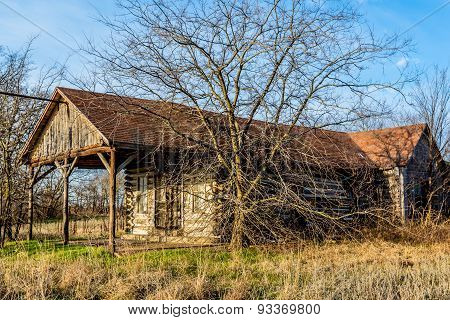 Old Country Store In Oklahoma Made Of Logs
