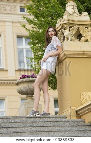 Casual Woman Near Old Building