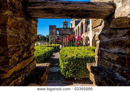 Courtyard of the Historic Old West Spanish Mission San Jose National Park