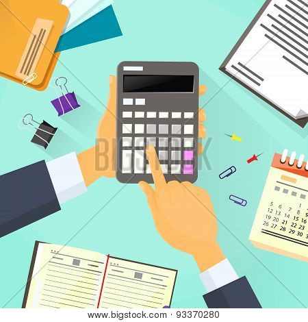 Calculator Business Man Hand Office Desk Accountant