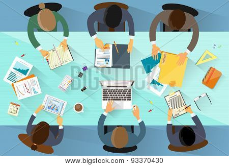 Business People Workplace Top Angle Above View Team