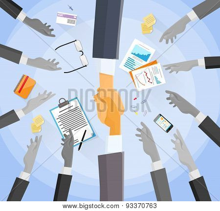 Handshake Concept Choose Partners Business People Group Hands