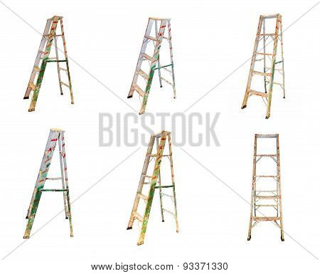 Aluminum Step Ladder On White Isolate Background.