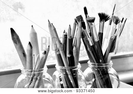 Black And White Photo Of Fine Art Supplies.