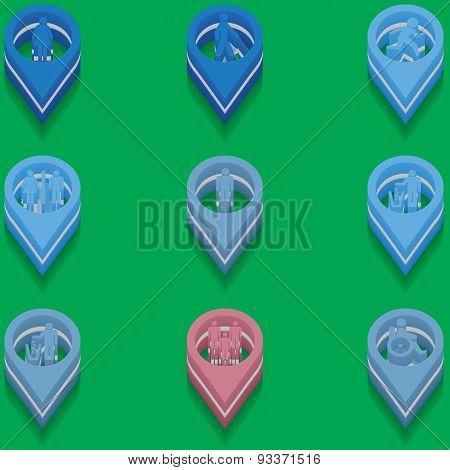 Set Of Medical Icons. Isometric Style