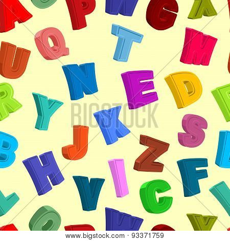 Color letters seamless pattern. Childrens alphabet. Cute funny ABC