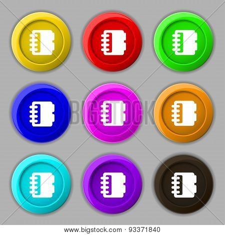 Notepad, Calendar Icon Sign. Symbol On Nine Round Colourful Buttons. Vector