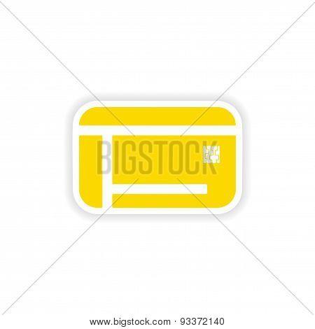 icon sticker realistic design on paper microchip