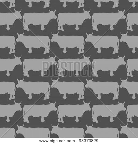Grey cows graze seamless pattern. Vector background of livestock. Grey animals on a black background