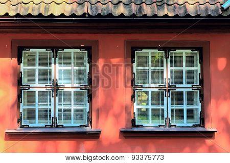 Colorful facade with a retro (vintage) window