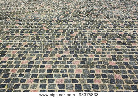 Cobblestone paved road texture