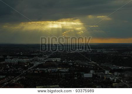 heaven, city, clouds, sunlight, skies