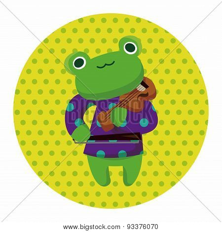 Animal Frog Playing Instrument Cartoon Theme Elements