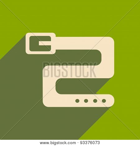 Flat with shadow icon and mobile applacation belt